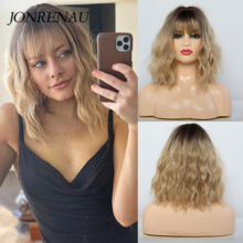 Synthetic-Wigs Bangs Blonde-Color Dark-Root Water-Wave JONRENAU White Ombre Black Women