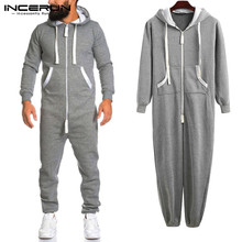 Streetwear Pants Jumpsuit Overalls Pockets Bodybuilding INCERUN Fashion Men Rompers Hooded