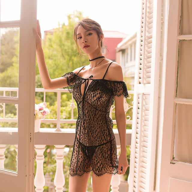 Sexy Night Gown Womens Sleepwear Lace Lingerie See Through Deep V Night Dress nighty hollow Slash Neck Home Clothing Nightgowns
