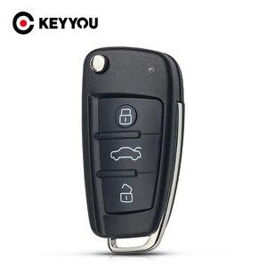 KEYYOU No Blade 3 Button Folding Flip Remote Car Key Shell Case For AUDI A2 A3 A4 A6 A6L A8 TT Key Fob Case Replacement