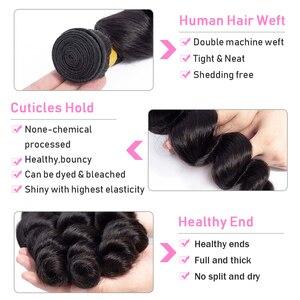 Image 3 - VSHOW brazylijska luźna fala 3 zestawy z zamknięciem 13x4 Frontal 100% ludzkie włosy splot wiązki z przednim doczepy z włosów typu remy