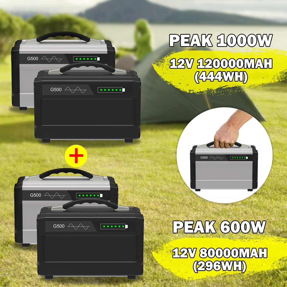 600W/1000W Max 8000/120000mAh Inverter Portable Solar Generator UPS Pure Sine Waves Power Supply USB LCD Display Energy Storage