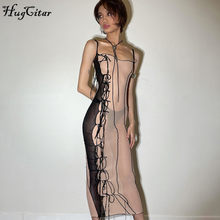 Hugcitar 2021 sem mangas cinta transparente assimétrica sexy vestido de verão moda feminina streetwear y2k clube outfits