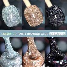 Shimmer unha arte gel de cristal diamante cola pó metálico unha polonês uv gel híbrido verniz manicure acessórios do prego tslm1