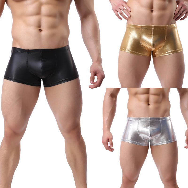 2019 Men's Soft Breathable Stretch Boxer Fashion Leather Solid Colors Underwear Male Boxer