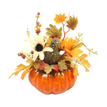 15cm Artificial Pumpkins Maple Leaf Dried Flowers Pomegranate Table House Autumn Fall Harvest Thanksgiving Halloween decoration