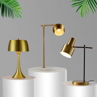 Postmodern LED table lamp bedroom bedside living room study American light luxury brass gold Nordic reading table lamp