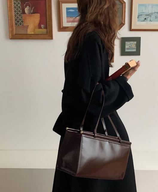 Женское двухстороннее шерстяное пальто черно серое Свободное