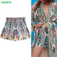 VUWWYV Za-pantalones cortos estampados de cintura alta para mujer, Bermudas, moda para el hogar, informales, 2021