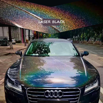 Holographic Rainbow Laser Diamond Black Car Sticker Glossy Film Vinyl Wrap Decals Sheet More Size Options image