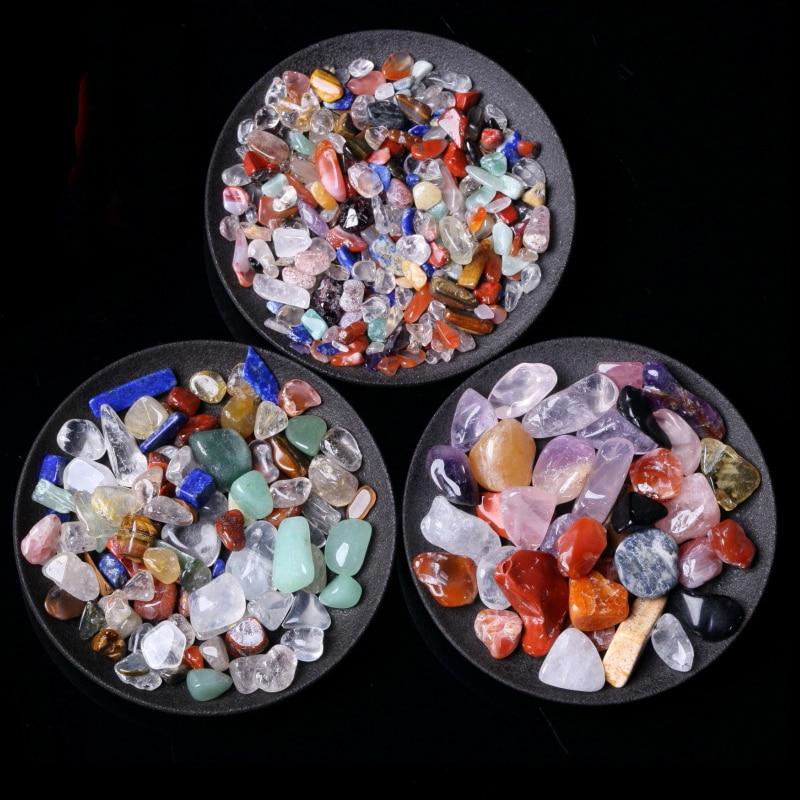 50 г, 3 размера, натуральный смешанный кварцевый кристалл, камень, гравий, образец, бак, Декор, натуральные камни и минералы
