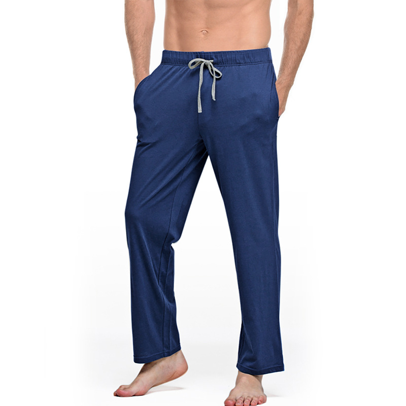 Solid Loose Fit Sports Pajamas MENS Soft And Healthy Cotton Men's Home Casual Straight Pants Can Be Worn Outside Home Pajamas