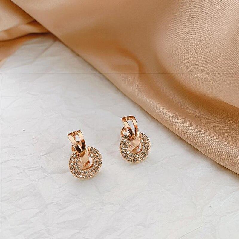 New earrings 2020 tide simple female senior sense niche small French net red earrings small earrings Elegant Prevent Allergy
