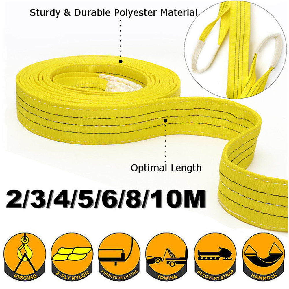 Lifting Sling Pull Load Belt 3 Tons 2/3/4/5/6/8/10m Optional Sturdy&Durable Polyester Strap Double Loop Eye Industrial