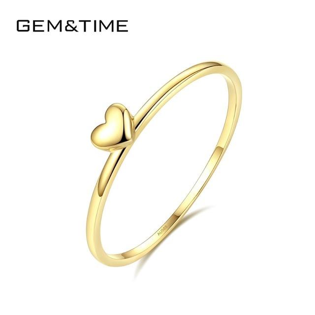 פנינה & זמן אמיתי 14K זהב מוצק לב טבעות לנשים 14K זהב 585 הבטחת טבעת אירוסין תכשיטי צהוב זהב Anillos R14004