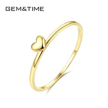 Gem&Time Real 14K Gold Solid Heart Rings For Women 14K Gold 585 Promise Engagement Ring Fine Jewelry Yellow Gold Anillos R14004