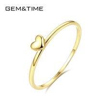 Mücevher ve zaman gerçek 14K altın katı kalp yüzükler kadınlar için 14K altın 585 Promise nişan yüzüğü ince takı sarı altın Anillos R14004
