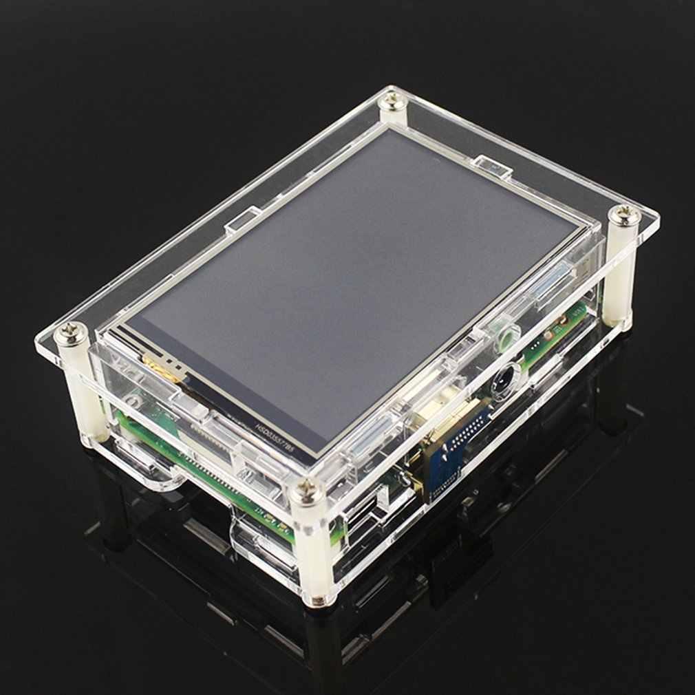 ラズベリーパイのための 4 モデル B アクリルケース透明シェル 3.5 インチの hdmi タッチスクリーンディスプレイエンクロージャ新