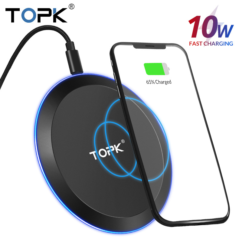 TOPK 10W Wireless Charger For IPhone X Xs Max 8 Plus Fast Wireless Charging Pad For Samsung S10 Note 9 Xiaomi Huawei