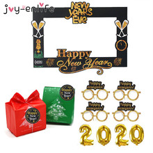 2020 Happy New Year Photo Booth Props Eve Party Decorations foil Balloons Label Sticker For Gift Box Xmas