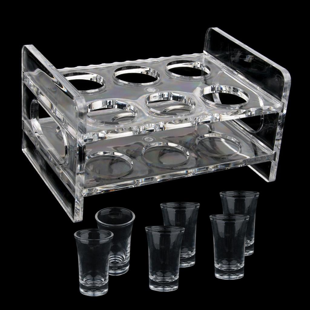 1 set clear acrylic shot glass set 6 pcs 35ml shot glasses shot glass holder rack for rv camper yacht motorhome boat etc 2019