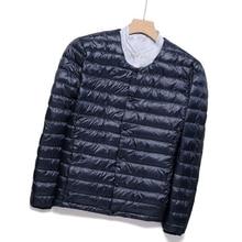 Down-Jackets Lightweight White-Duck-Down Men's Fashion Round Casual Warm Male Neck Liner