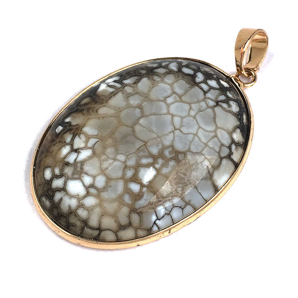 Natural Crystal Necklace Pendant Oval Natural Stone Quartz Pendants Jade Crystal Necklace Pendents Charms For Jewelry Making