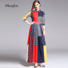 2019 early autumn new lapel nine-point sleeve print stitching dress