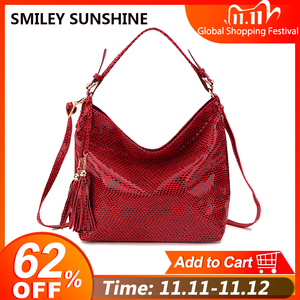 Image 1 - Snake Leather Women Shoulder Bag 2020 Female Serpentine Pattern Hobo Bag Tassel Women Handbag Purse Big Red Tote Ladies Hand Bag