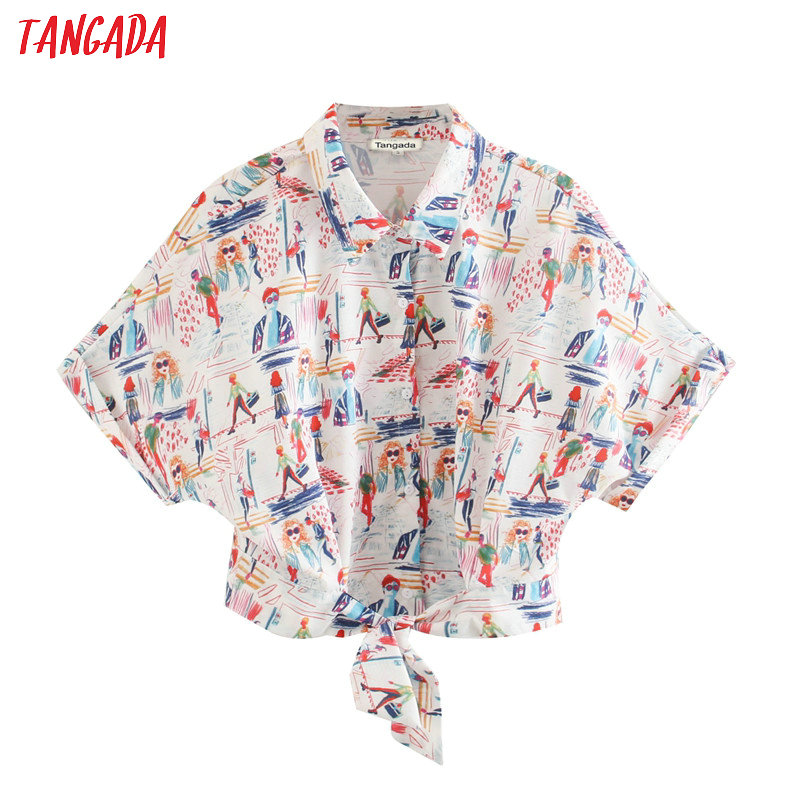 Tangada Women Retro Print Crop Blouse Short Sleeve 2020 New Arrival Chic Female Oversize Shirt Tops XN341