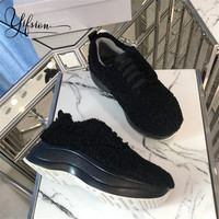 YIFSION/Новинка; черные женские туфли на плоской подошве из натуральной кожи; женские теплые туфли на плоской подошве с круглым носком и шнуров