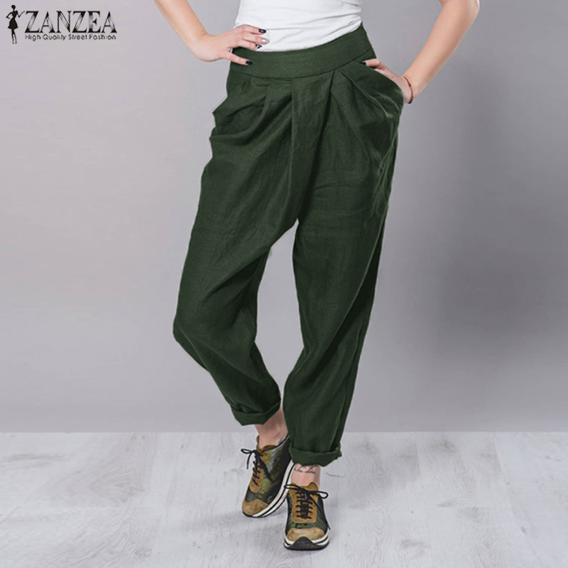 ZANZEA 2020 Fashion Women Pants Work Office Lady Pencil Long Trousers Casual Loose Pockets Side Zipper Streetwear Pantalon Femme