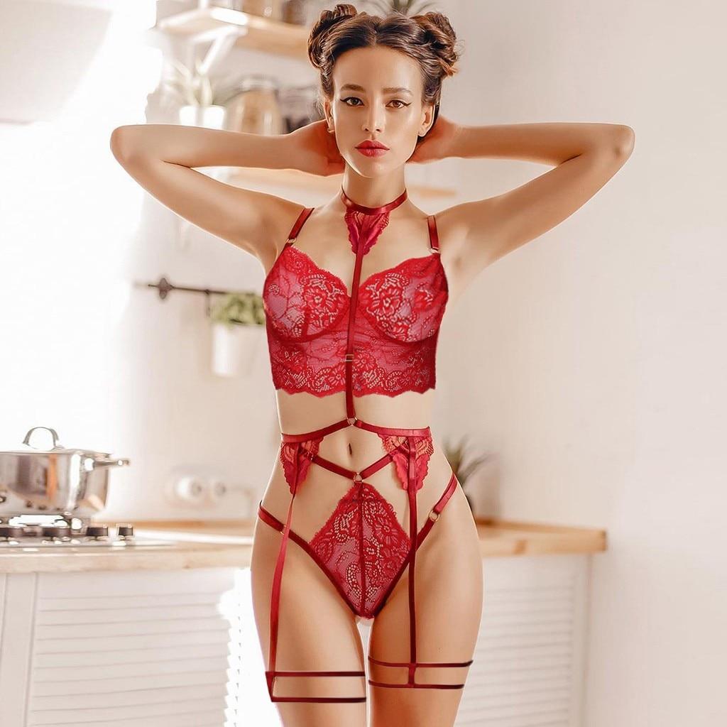 Red Sexy Underwear 3 Piece Set Transparent Lace Lingerie Set Garter Porno Babydoll Erotic Apparel Women G-string Panties Tongs