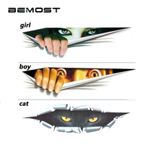 BEMOST Car Styling Funny Waterproof Stickers Car 3D Eyes Peeking Stickers Voyeur Auto Body Motorcycle Decal Auto Accessories car styling 3d car stickers funny auto ball hits car body window sticker self adhesive baseball tennis decal accessories
