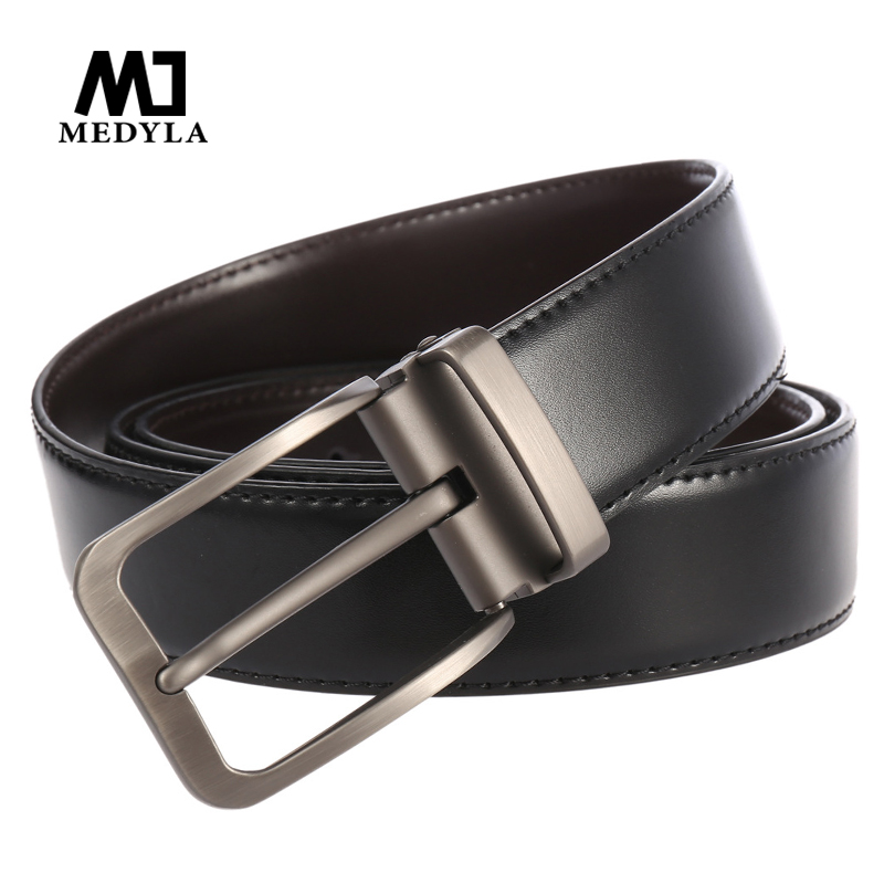 Genuine Leather Belt Fashion Pin Buckle Belts For Men Business Belt Double Used Design Man Waistband Brown Strap Male Jeans Belt