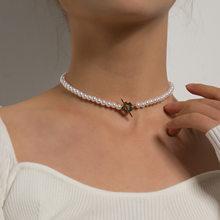 JCYMONG – collier ras du cou en perles simulées pour femmes, bohème, fleur, OT, boucle, clavicule, chaîne, bijoux à la mode, cadeau, nouvelle collection 2021