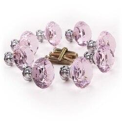8 x różowy diament bling dekoracja drzwi meble uchwyt szuflady gałka 30x27mm