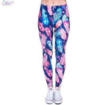 CHILL SKILL legginsy wysokiej jakości pióra kolorowy nadruk Fitness elastyczność leginsy Slim Sexy leginsy spodnie do spodni tanie i dobre opinie Kostek CN (pochodzenie) REGULAR SEAM Wysokiej elastan ( 20 ) STANDARD Z dzianiny lga36750 WOMEN STREETWEAR POLIESTER SILK