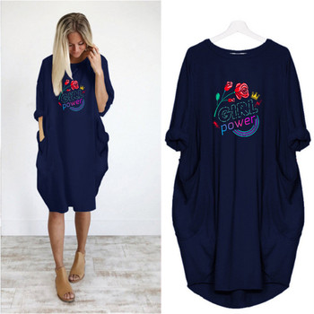 Loose Women Dress Plus Size Fashion Letter Print Long Sleeve O Neck Pocket Casual Streetwear Vestidos Woman Dresses Robes Femme 2020 new summer dresses women casual short sleeve o neck print a line dress large size streetwear sundress loose dress vestidos