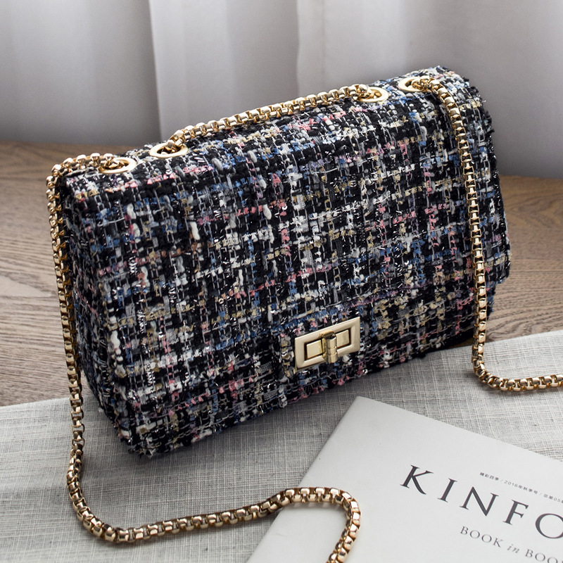 Crossbody Bags For Women 2019 Tweed Flap Bag Chain Shoulder Messenger Bag Womens Cross Body Bag Purses And Handbags