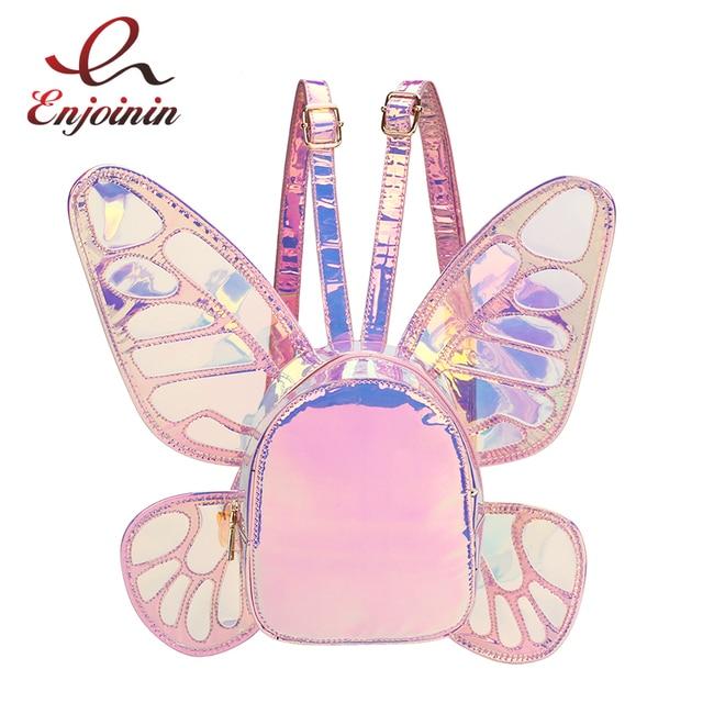 אופנה נשים של לייזר הולוגרפית עור מיני תרמיל פרפר מלאך כנפי Daypack עבור בנות נסיעות מקרית ספר Daypack תיק