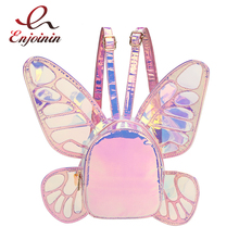 Fashion Womens Laser Holographic Leather Mini Backpack Butterfly Angel Wings Daypack for Girls Travel Casual Daypack School Bag