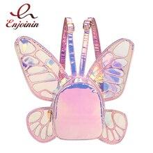 Moda damska Laser holograficzny skórzany Mini plecak motyl Angel Wings plecak dla dziewczynek podróż na co dzień plecak szkolny
