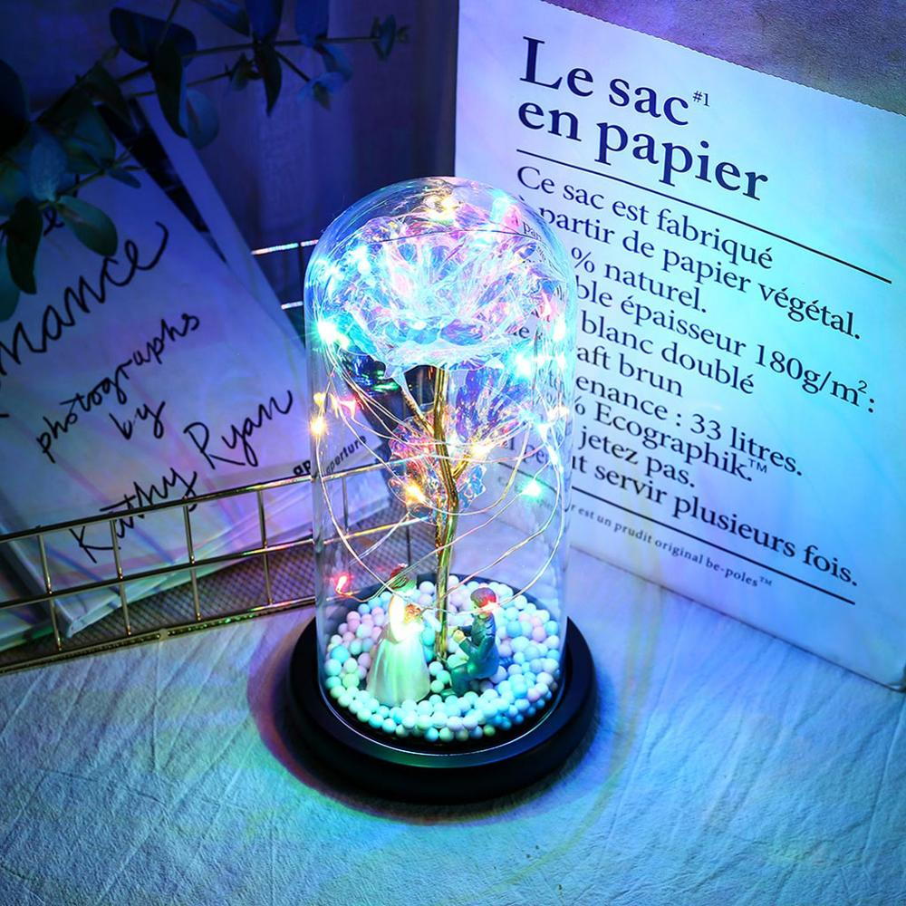 Tinsel Rose With LED Lamp Forever Rose Lamp Couples Decorate Small Night Lights As Romantic Gifts For Christmas Valentine's Day