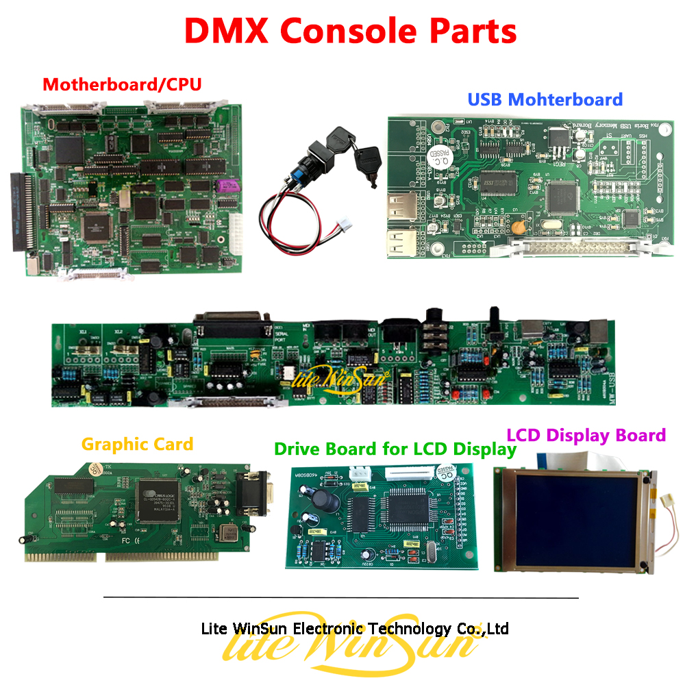 DMX Controller Repair Parts Accessories Mainboard Mother Board Screen USB Board DMX Output Board 2010 DMX Console