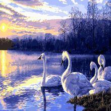 Лебедь пейзаж краска по номеру акриловая для взрослых diy ремесленные