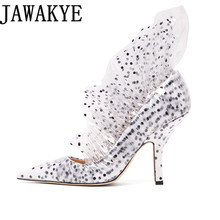 Dress Pumps Party-Shoes Runway Clear Pointed-Toe High-Heels Women Stilettos Covered Flowers