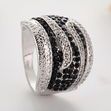 Fashion Men Crystal Ring Luxury Women Engagement Ring Wedding Bands Jewelry for Bridal Wedding Ring Party Christmas Gift cheap ZHIXUN Zinc Alloy Metal Classic geometric Other All Compatible Fitness Tracker Mood Tracker K540 Prong Setting Young And Maturity Women