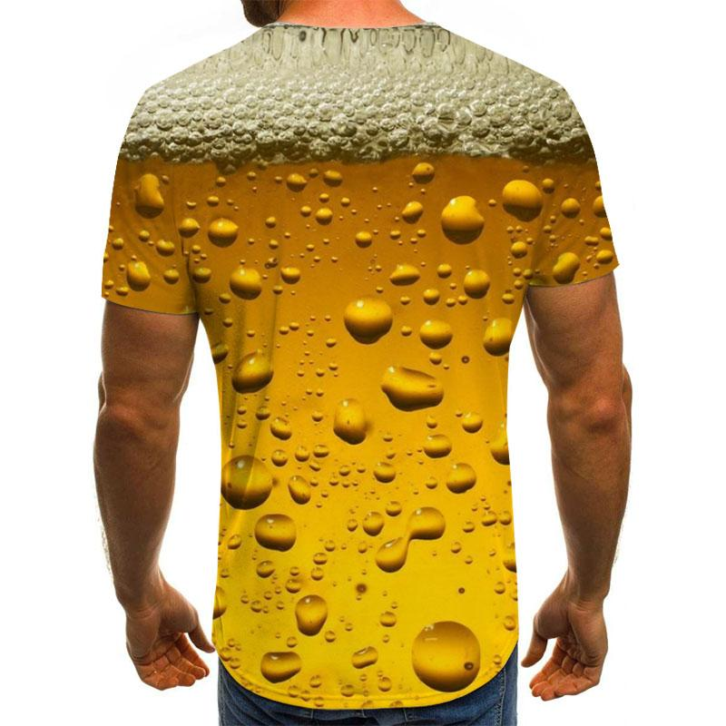2020 beer 3D printing T-shirt, letter man funny novelty 3D pattern T-shirt short sleeve top men's and women's clothing