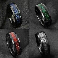 I & FDLK-anillo de acero inoxidable de 4 estilos para hombre, de fibra de carbono, negro, dragón azul, joyería de compromiso para boda